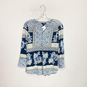 Lucky Brand blue & white boho print 3/4 sleeve top